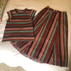 Stripe Zara top and midi skirt set small